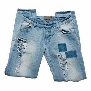 Zara Heritage Denim Distressed Jeans